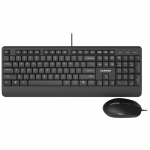 Комплект проводной клавиатуры и оптической мыши Canyon CNE-CSET4-RU,черный